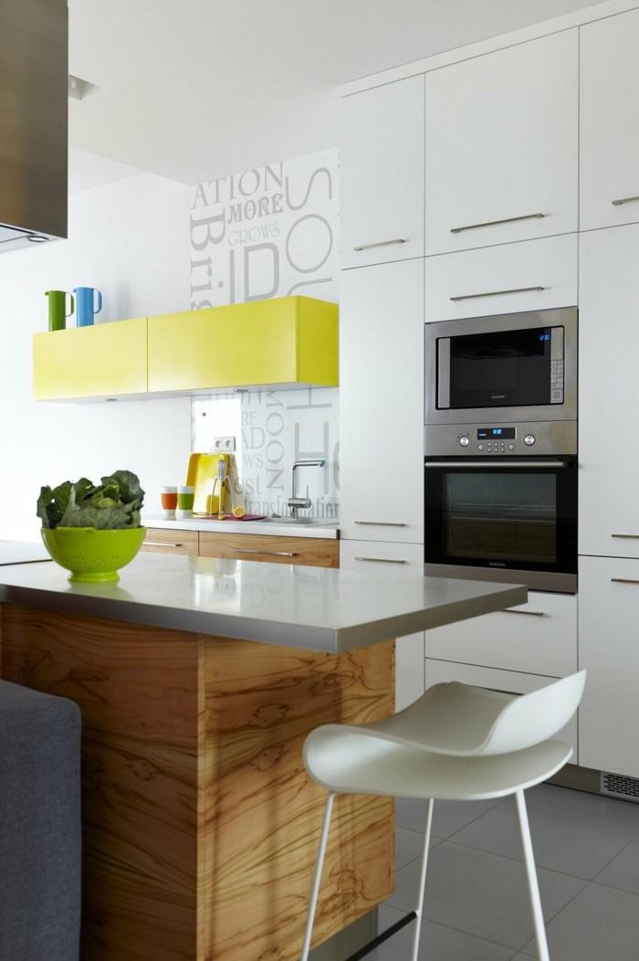 hochwertige inneneinrichtung wohnideen küche grüne akzente holztexturen