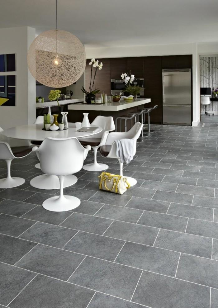 hochwertige inneneinrichtung wohnideen küche offene küche runder esstisch graue bodenfliesen