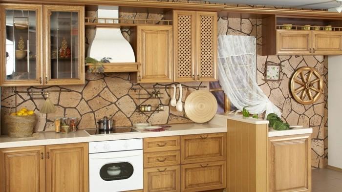 ideen wandgestaltung wohnideen küche steinoptik