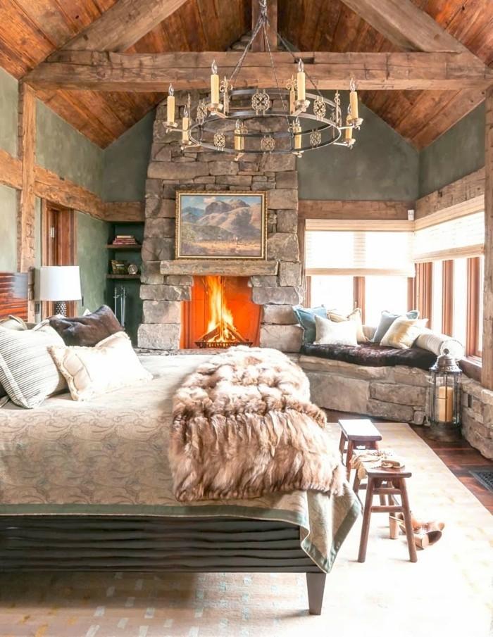 ideen wandgestaltung wohnideen schlafzimmer grüne wandfarbe holzakzente erholungsecke