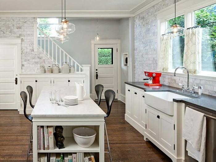 kücheneinrichtung farbige geräte weiße einrichtung