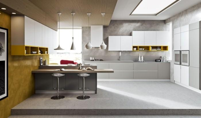kücheneinrichtung gelbe akzente hängelampen heller teppichboden