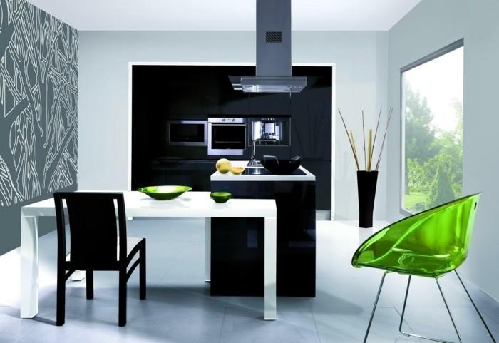 kücheneinrichtung grüne akzente sessel geschirr
