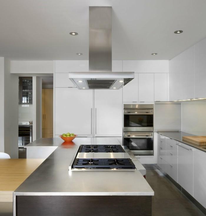 kücheneinrichtung orange schüssel minimalistische küche