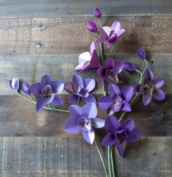 kreativ basteln lila orchideen diy blumen ideen