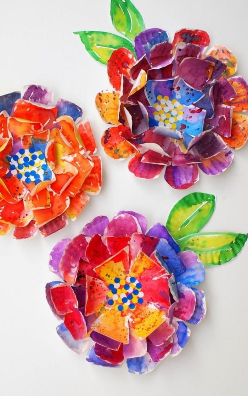 kreatives basteln blumen machen papier farbig lustig diy ideen