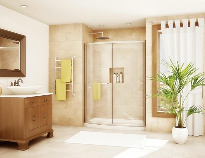 moderne duschen badezimmer pflanze badematte