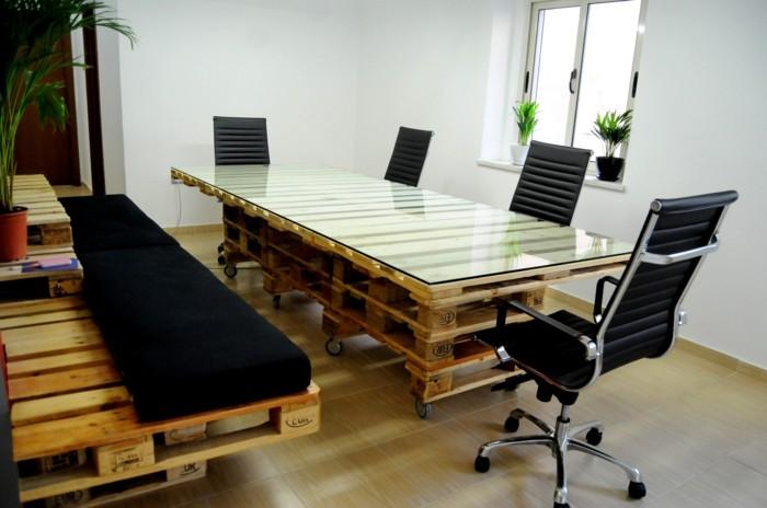 palettenmöbel ideen wanddekoration europaletten tisch selber bauen