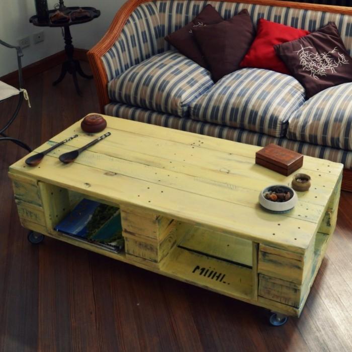 palettenmoebel couchtisch selber bauen gelb sofa wohnzimmer