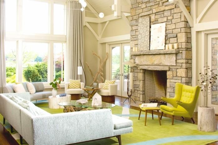 passende frühlingsdekoration frische wohnzimmergestaltung einrichtungsideen farbnuancen