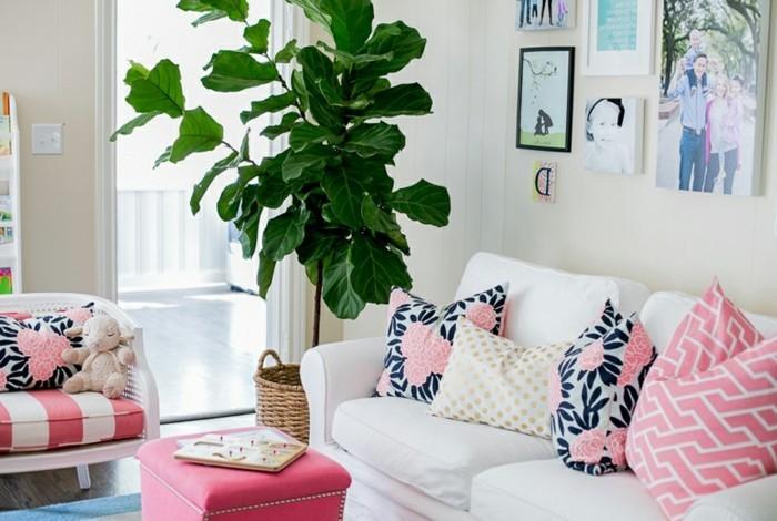 passende frühlingsdekoration frische wohnzimmergestaltung einrichtungsideen farben