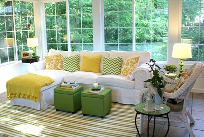 passende frühlingsdekoration frische wohnzimmergestaltung einrichtungsideen zitronenfarben