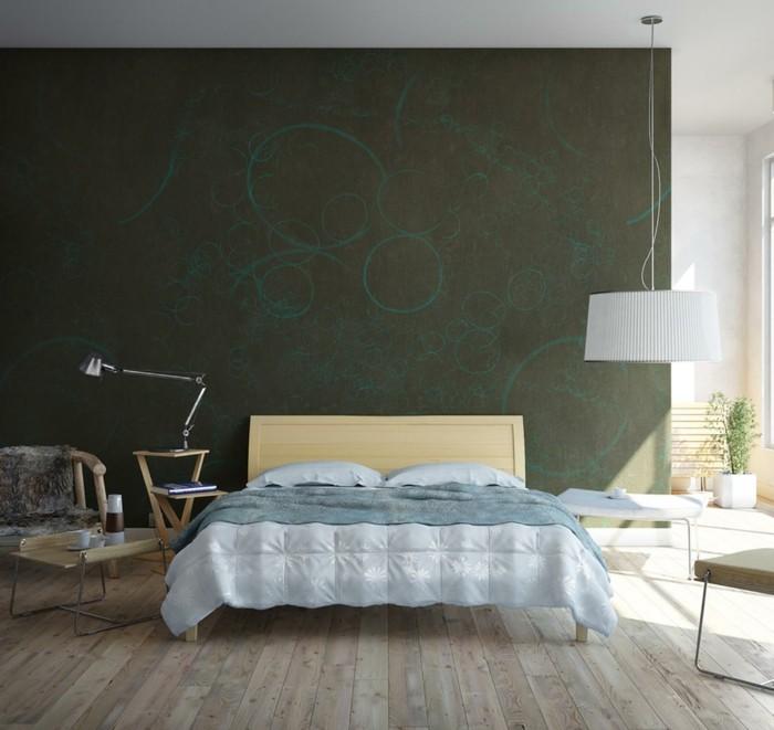 schlafzimmer ideen wandgestaltung ausgefallene akzentwand holzboden