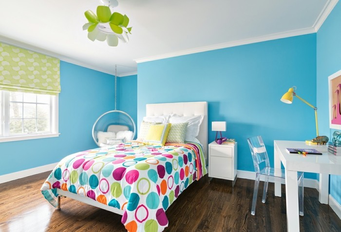 schlafzimmer ideen wandgestaltung blaue wandfarbe wandbild
