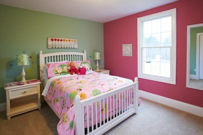 schlafzimmer ideen wandgestaltung grüne wand rosa wand wanddeko