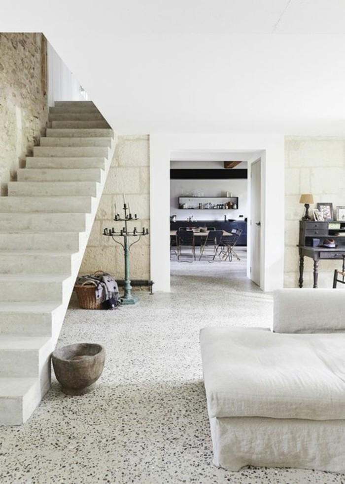 terrazzo bodenbeläge wohnzimmer esszimmer betontreppe stylejuicer