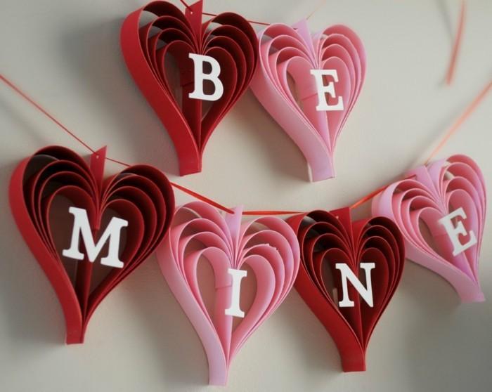 valentinstag diy dekogirlande herzen botschaft