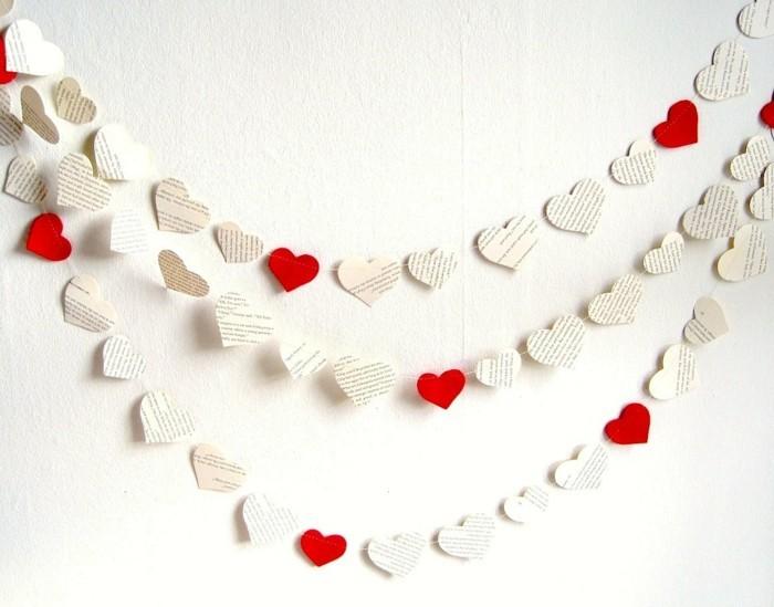 valentinstag diy herzen papier girlande wanddeko