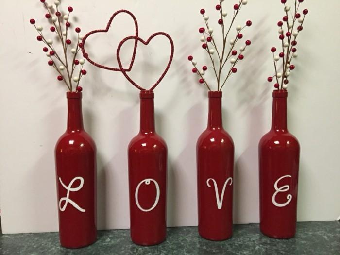 valentinstag diy weinflaschen verwenden LOVE
