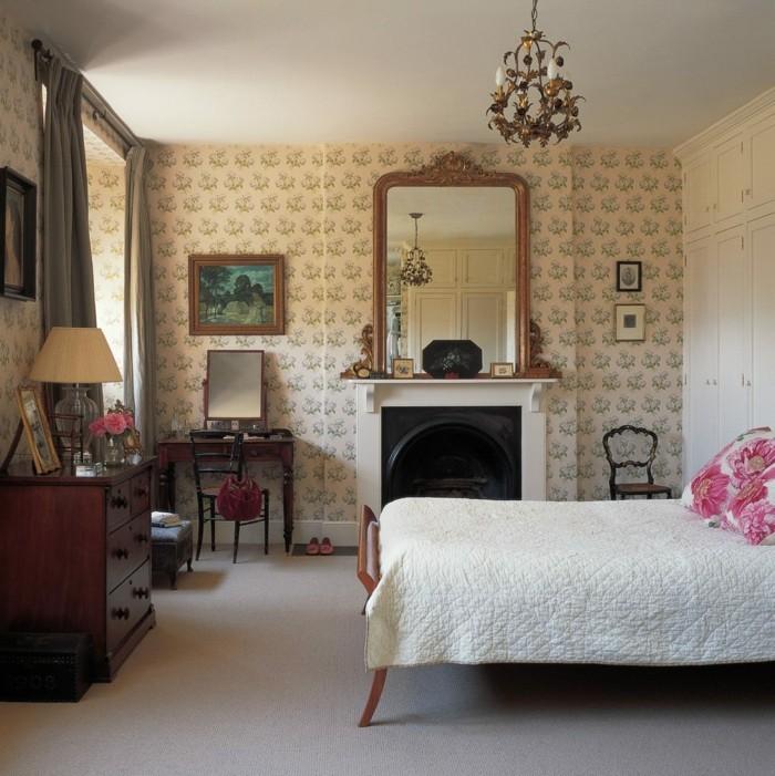 wanddesign ideen für das schlafzimmer florale tapeten