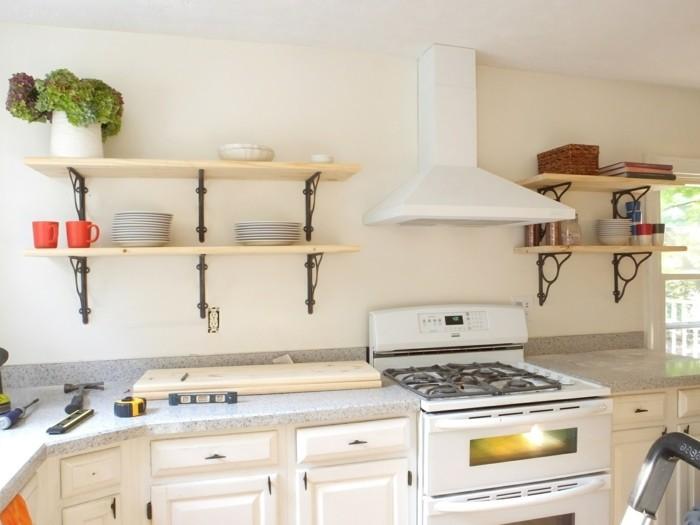 wanddesign ideen offene wandregale wohnideen küche