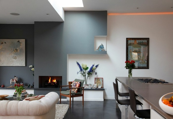Wanddesign Ideen Offener Wohnplan Grau Weiß Wandfarbe