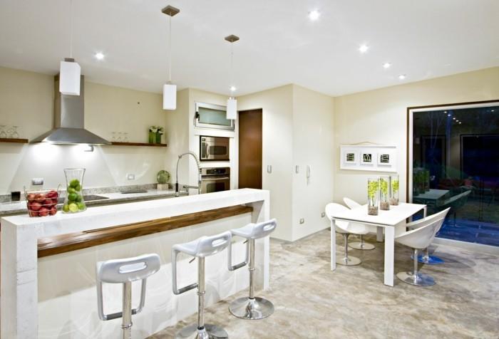wanddesign ideen wohnideen küche helle wandfarbe wandregale wanddeko