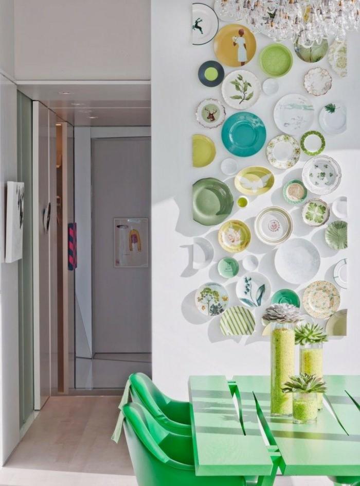 wanddesign ideen wohnideen küche teller wanddeko grüne möbel