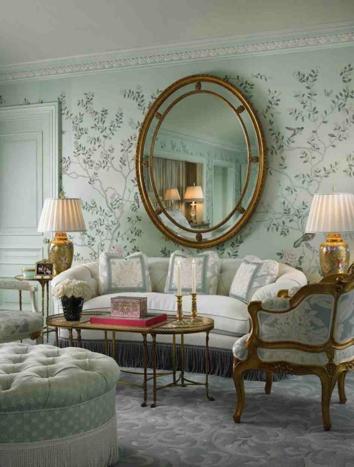 wanddesign ideen wohnideen wohnzimmer florales muster wandspiegel