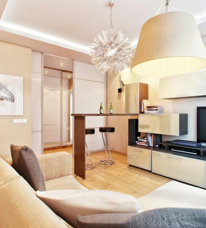 wanddesign ideen wohnzimmer einrichten beige wände
