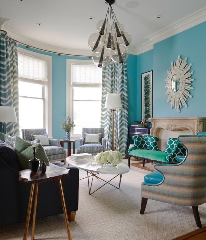 wanddesign ideen wohnideen wohnzimmer große fenster gardinenmuster
