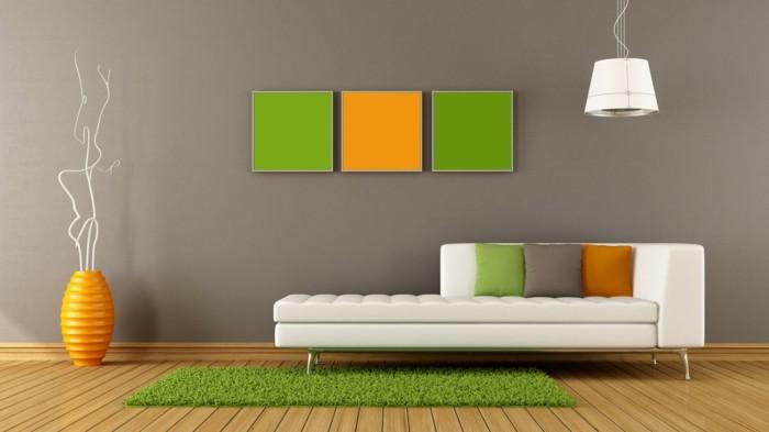 wandgestaltung ideen beige wandfarbe mit kassen akzenten