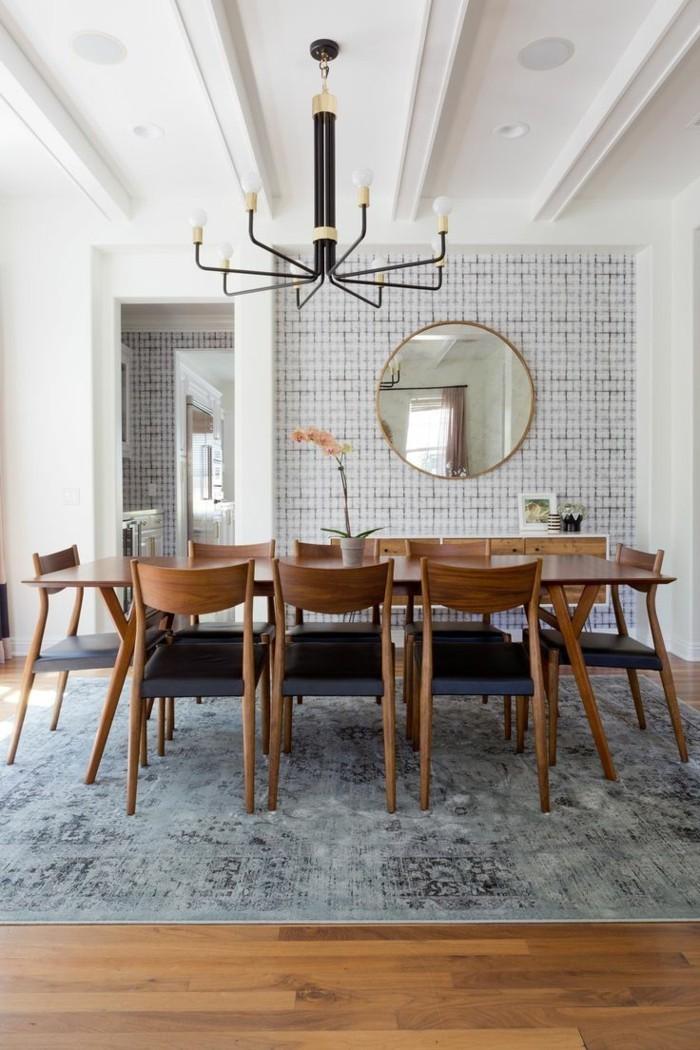 Wandgestaltung Ideen Esszimmer Akzentwand Vintage Teppich