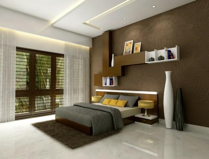 wandgestaltung ideen fürs schlafzimmer schickes wanddesign mit offenen wandregalen