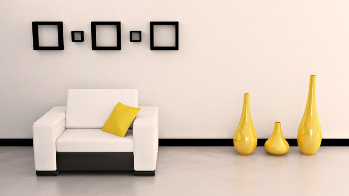 wandgestaltung ideen helle wände mit schwarzen bilderrahmen
