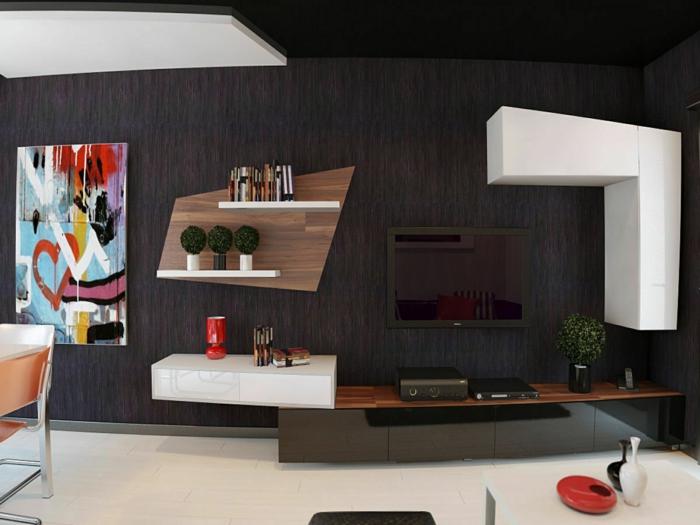 wandgestaltung ideen im modernen wohnbereich in schicken dunklen farbtönen