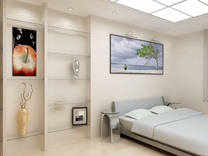 Wandgestaltung Ideen Schlafzimmer Helle Wandfarbe Wandbilder