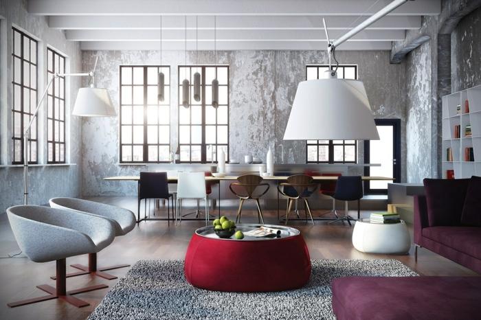 wandgestaltung ideen stilvoll grauer teppich lila sofas