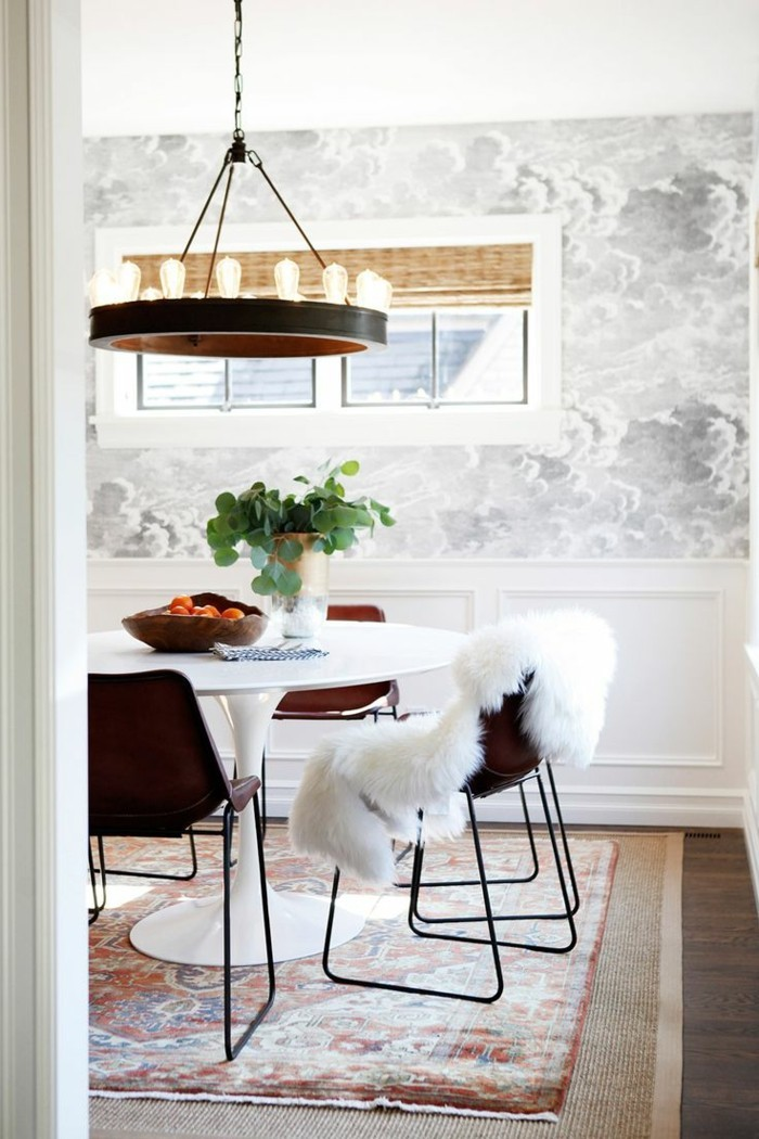 Wandgestaltung Ideen Wohnideen Esszimmer Schönes Wanddesign Vintage Stühle
