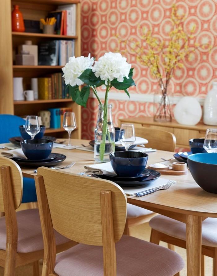 Wandgestaltung Ideen Wohnideen Esszimmer Tapetenmuster Orangenuancen