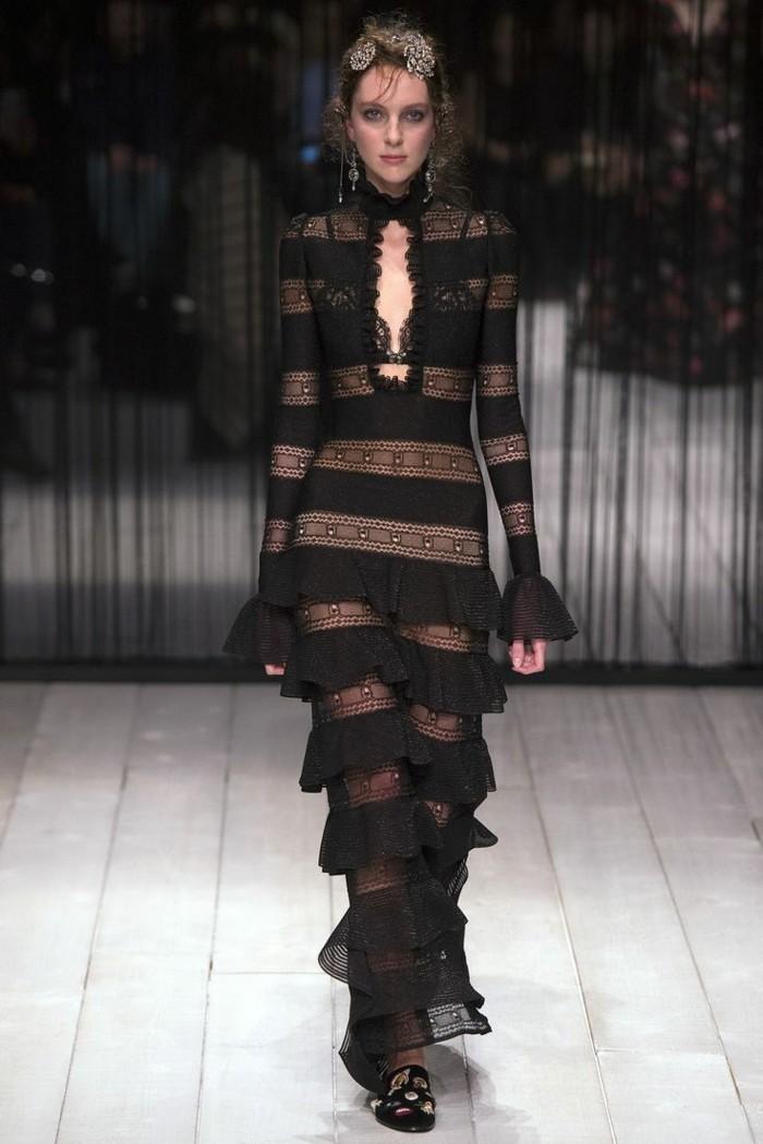 wintersaison trendige mode schwarze kleider spitze