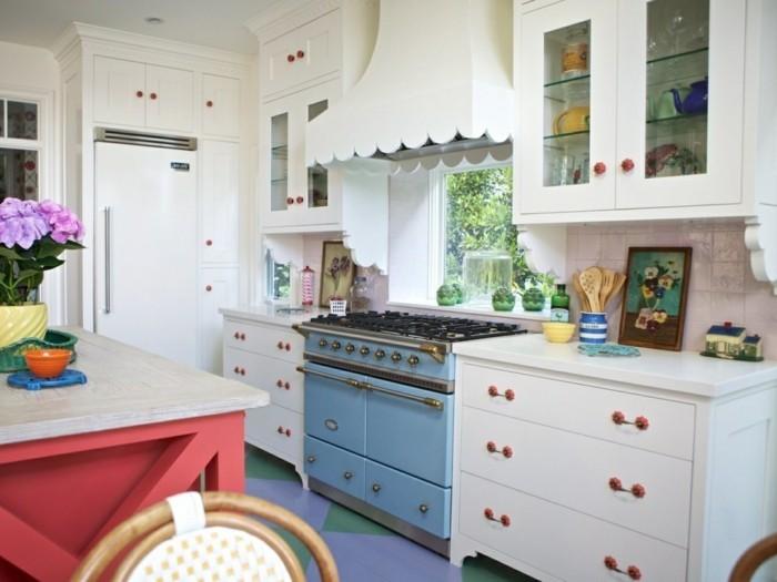 wohnideen küche blauer herd rote kücheninsel