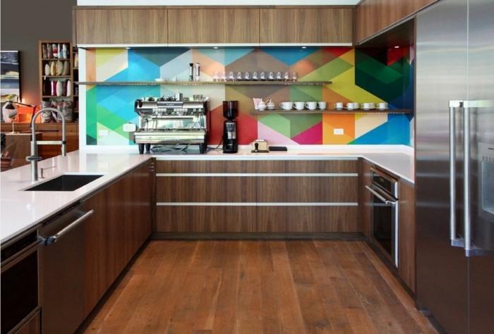 wohnideen küche coole küchenrückwand bunt