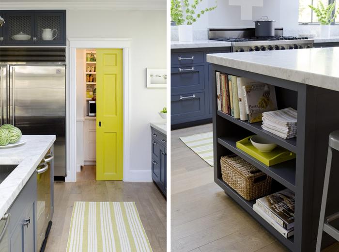 wohnideen küche farbige akzente gelb minimalistisches design