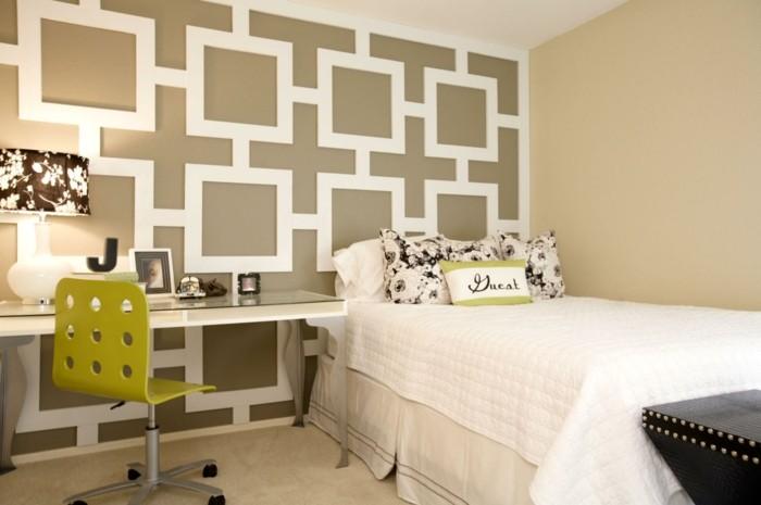 wohnideen schlafzimmer ausgefallene akzentwand mit geometrischen mustern