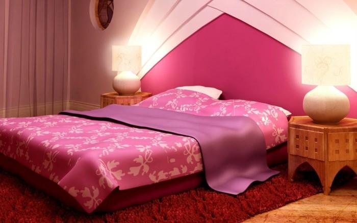 wohnideen schlafzimmer ausgeffallene wandgestaltung roter teppich