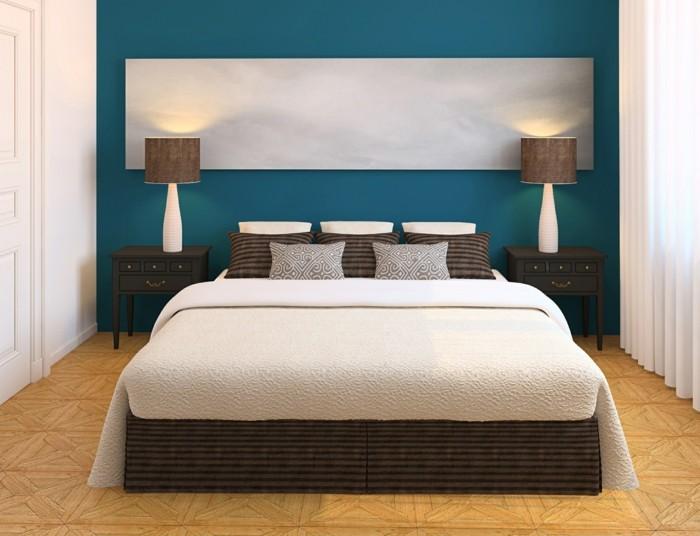 schlafzimmer ideen blaue wandfarbe weiße gardinen