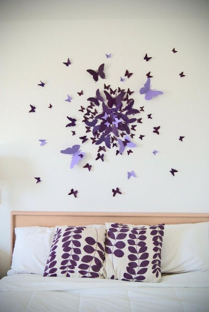 wohnideen schlafzimmer diy wanddeko mit schmetterlingen