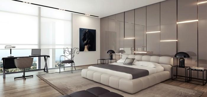 wohnideen schlafzimmer hellbraune wandgestaltung vintage teppich