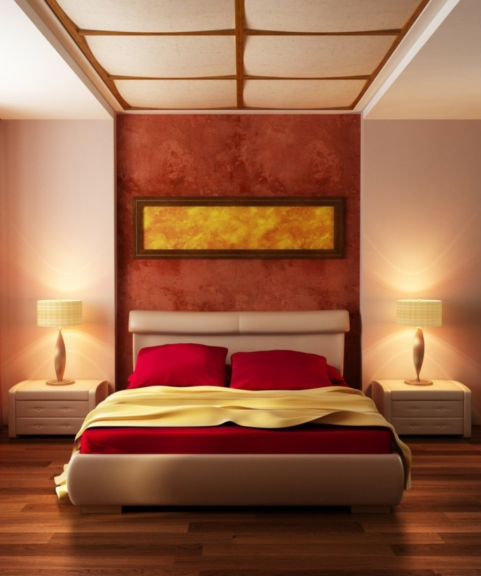 wohnideen schlafzimmer schöne akzentwand rote bettwäsche